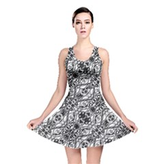 Black And White Ornate Pattern Reversible Skater Dress