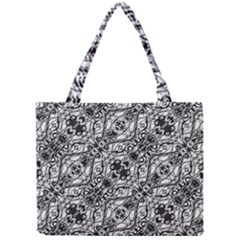 Black And White Ornate Pattern Mini Tote Bag