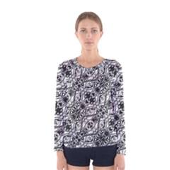 Black And White Ornate Pattern Women s Long Sleeve Tee