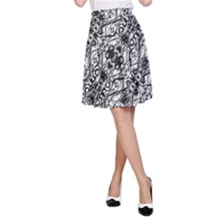 Black And White Ornate Pattern A Line Skirt
