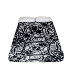 Black And White Ornate Pattern Fitted Sheet (full/ Double Size)