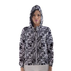 Black And White Ornate Pattern Hooded Wind Breaker (women)