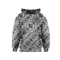 Black And White Ornate Pattern Kids  Pullover Hoodie