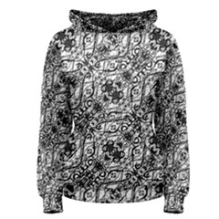 Black And White Ornate Pattern Women s Pullover Hoodie