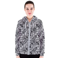 Black And White Ornate Pattern Women s Zipper Hoodie