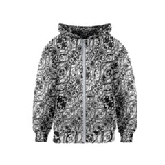 Black And White Ornate Pattern Kids  Zipper Hoodie