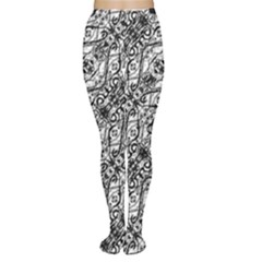 Black And White Ornate Pattern Women s Tights