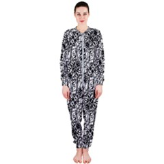 Black And White Ornate Pattern Onepiece Jumpsuit (ladies)