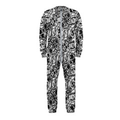 Black And White Ornate Pattern Onepiece Jumpsuit (kids)