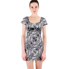 Black And White Ornate Pattern Short Sleeve Bodycon Dress
