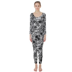 Black And White Ornate Pattern Long Sleeve Catsuit
