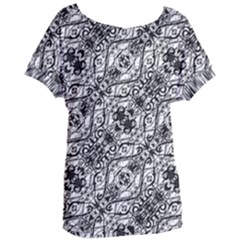 Black And White Ornate Pattern Women s Oversized Tee