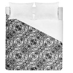 Black And White Ornate Pattern Duvet Cover (queen Size)