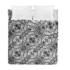 Black And White Ornate Pattern Duvet Cover Double Side (full/ Double Size)
