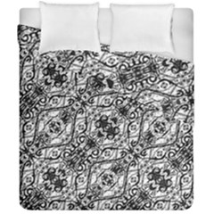 Black And White Ornate Pattern Duvet Cover Double Side (california King Size)