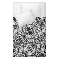 Black And White Ornate Pattern Duvet Cover Double Side (single Size)