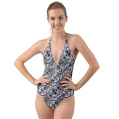 Black And White Ornate Pattern Halter Cut Out One Piece Swimsuit