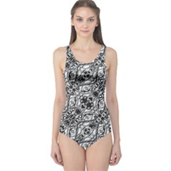 Black And White Ornate Pattern One Piece Swimsuit