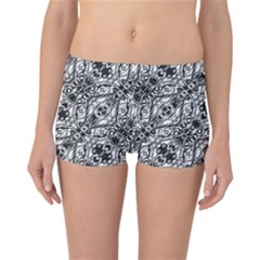 Black And White Ornate Pattern Reversible Boyleg Bikini Bottoms