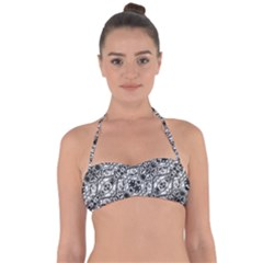 Black And White Ornate Pattern Halter Bandeau Bikini Top