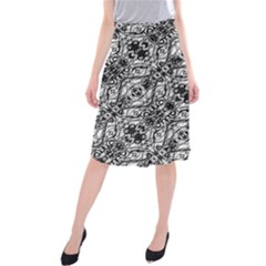 Black And White Ornate Pattern Midi Beach Skirt