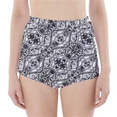 Black And White Ornate Pattern High Waisted Bikini Bottoms