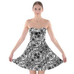 Black And White Ornate Pattern Strapless Bra Top Dress