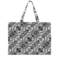 Black And White Ornate Pattern Zipper Large Tote Bag