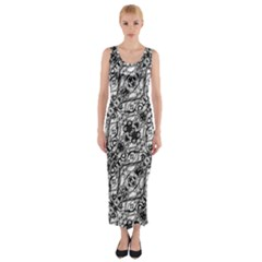 Black And White Ornate Pattern Fitted Maxi Dress