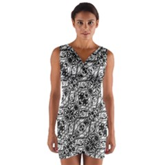 Black And White Ornate Pattern Wrap Front Bodycon Dress