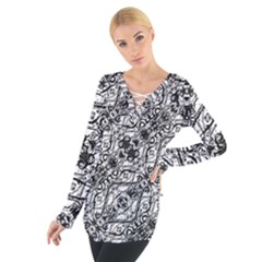 Black And White Ornate Pattern Tie Up Tee