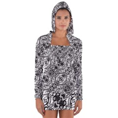 Black And White Ornate Pattern Long Sleeve Hooded T Shirt