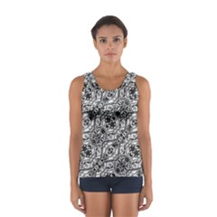 Black And White Ornate Pattern Sport Tank Top