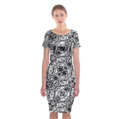 Black And White Ornate Pattern Classic Short Sleeve Midi Dress
