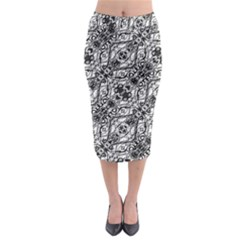Black And White Ornate Pattern Midi Pencil Skirt