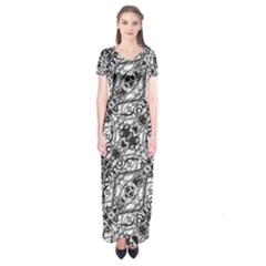 Black And White Ornate Pattern Short Sleeve Maxi Dress