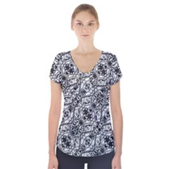 Black And White Ornate Pattern Short Sleeve Front Detail Top