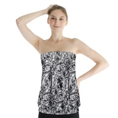 Black And White Ornate Pattern Strapless Top