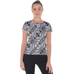 Black And White Ornate Pattern Short Sleeve Sports Top