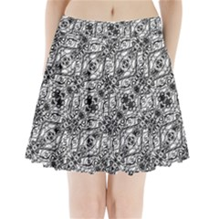 Black And White Ornate Pattern Pleated Mini Skirt