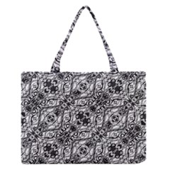 Black And White Ornate Pattern Zipper Medium Tote Bag