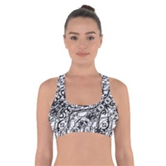 Black And White Ornate Pattern Cross Back Sports Bra