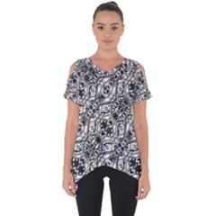Black And White Ornate Pattern Cut Out Side Drop Tee