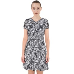 Black And White Ornate Pattern Adorable In Chiffon Dress