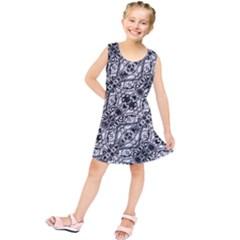 Black And White Ornate Pattern Kids  Tunic Dress