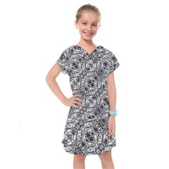 Black And White Ornate Pattern Kids  Drop Waist Dress