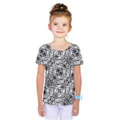 Black And White Ornate Pattern Kids  One Piece Tee