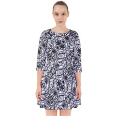 Black And White Ornate Pattern Smock Dress