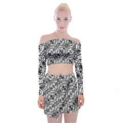 Black And White Ornate Pattern Off Shoulder Top With Mini Skirt Set