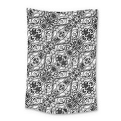 Black And White Ornate Pattern Small Tapestry